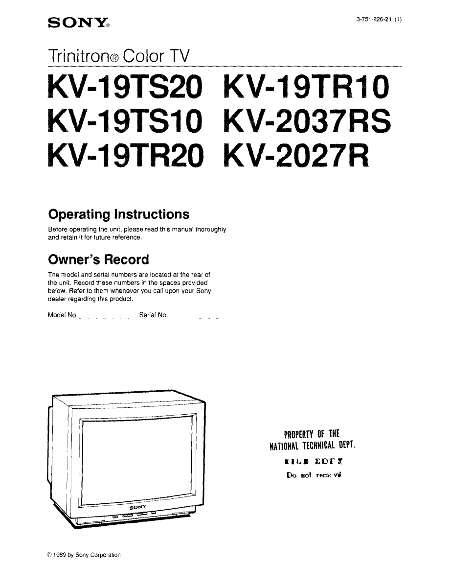 sony crt television kv 2037rs user guide manualsonline com rh tv manualsonline com Sony Vaio User Manual Sony Car Stereo User Manual