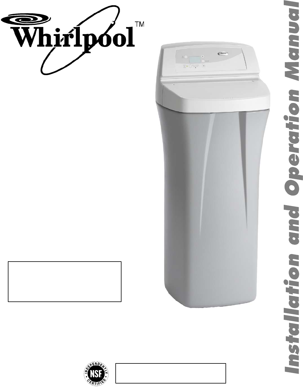 whirlpool water system whes30 user guide manualsonline com rh kitchen manualsonline com Whirlpool WHES40 Water Softener Whirlpool Water Softener Problems