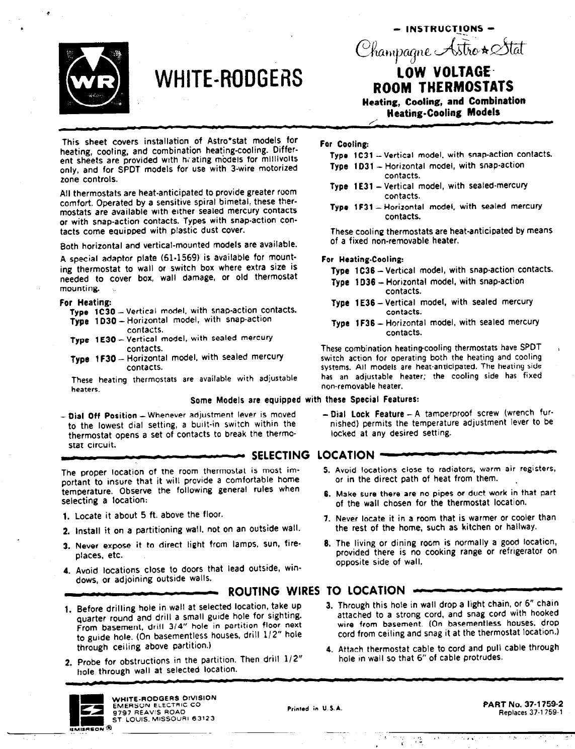 white rodgers thermostat manual pdf