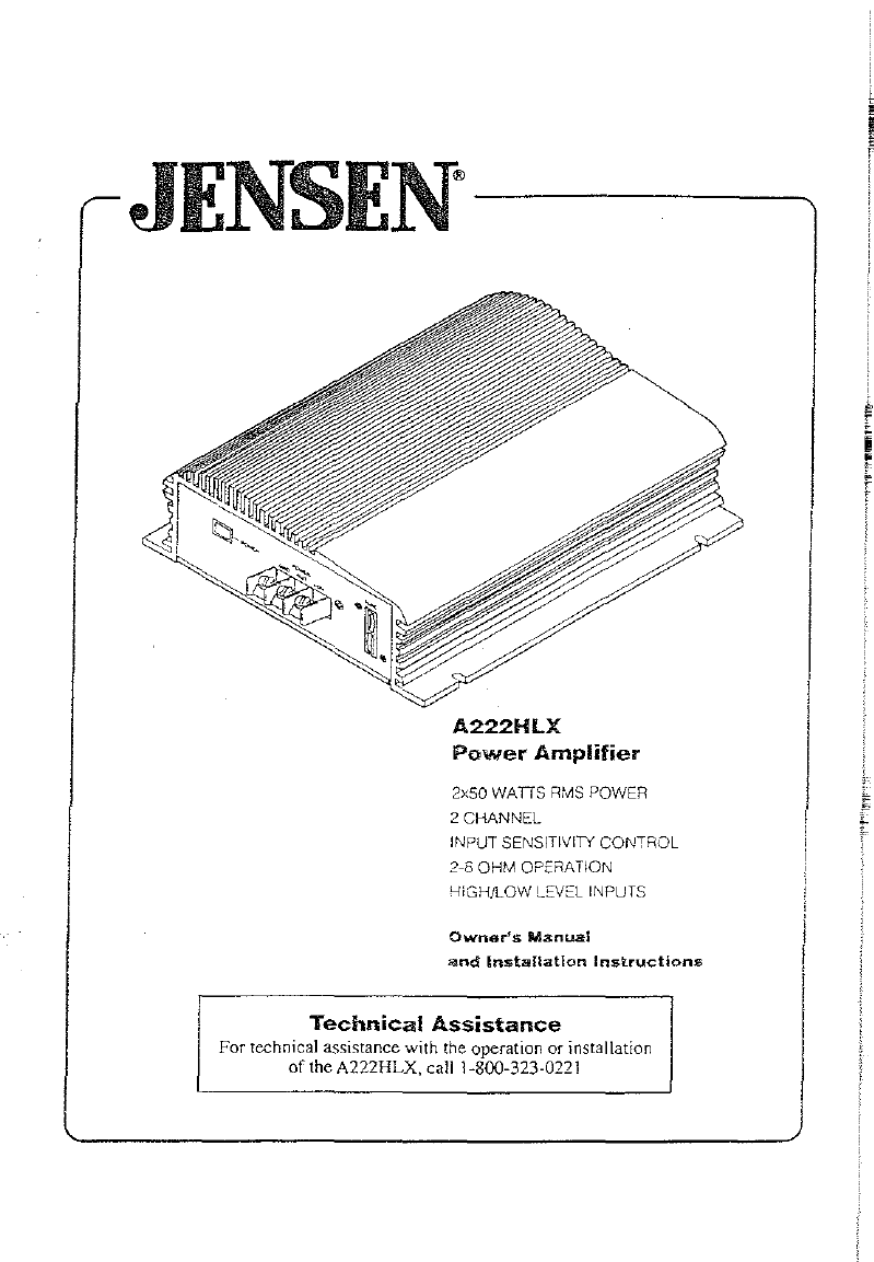 d94d0b13 2e54 4e7a 89be 62f84fde4784 bg1 jensen stereo amplifier a222hlx user guide manualsonline com on jensen a222hx wiring diagram