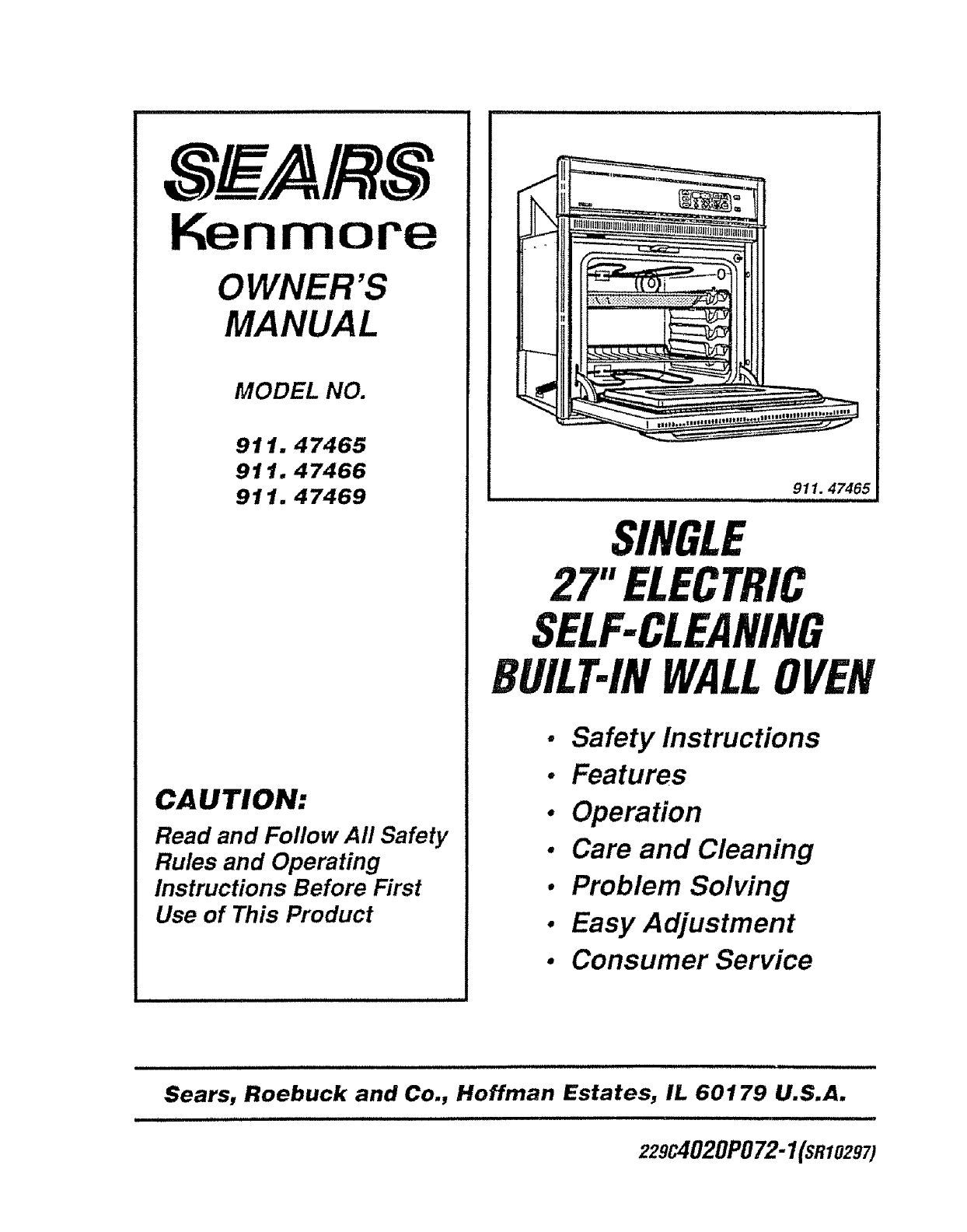 Kenmore Wall Oven Model 911