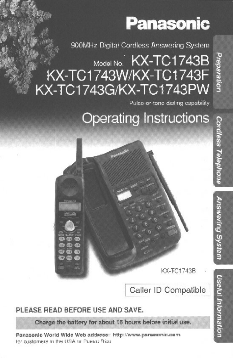 panasonic telephone kxtc1743f user guide manualsonline com rh tv manualsonline com Panasonic Telephone KX Panasonic Telephone KX