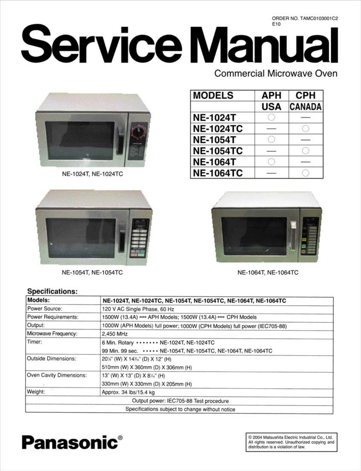panasonic microwave instruction manual