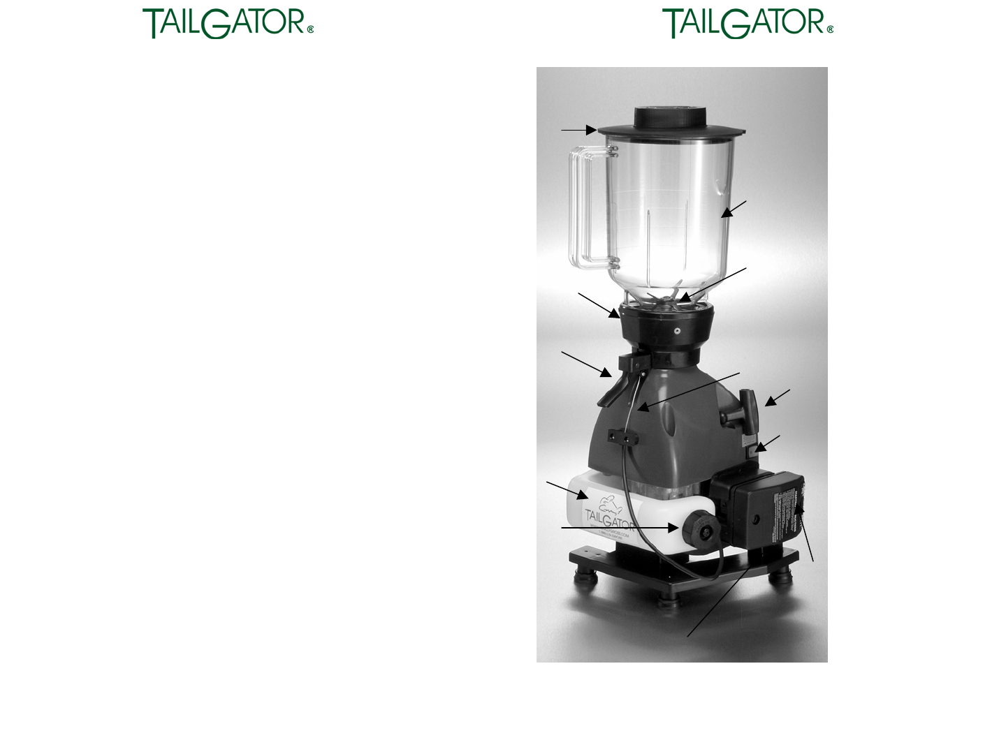 Page 2 Of Tailgator Blender The Original Portable Gas Powered Blender User Guide Manualsonline Com