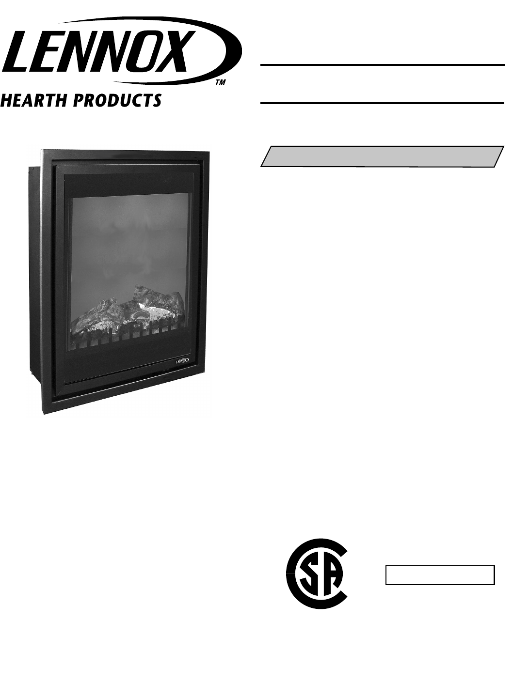 Lennox Hearth Indoor Fireplace MPE 27 User Guide