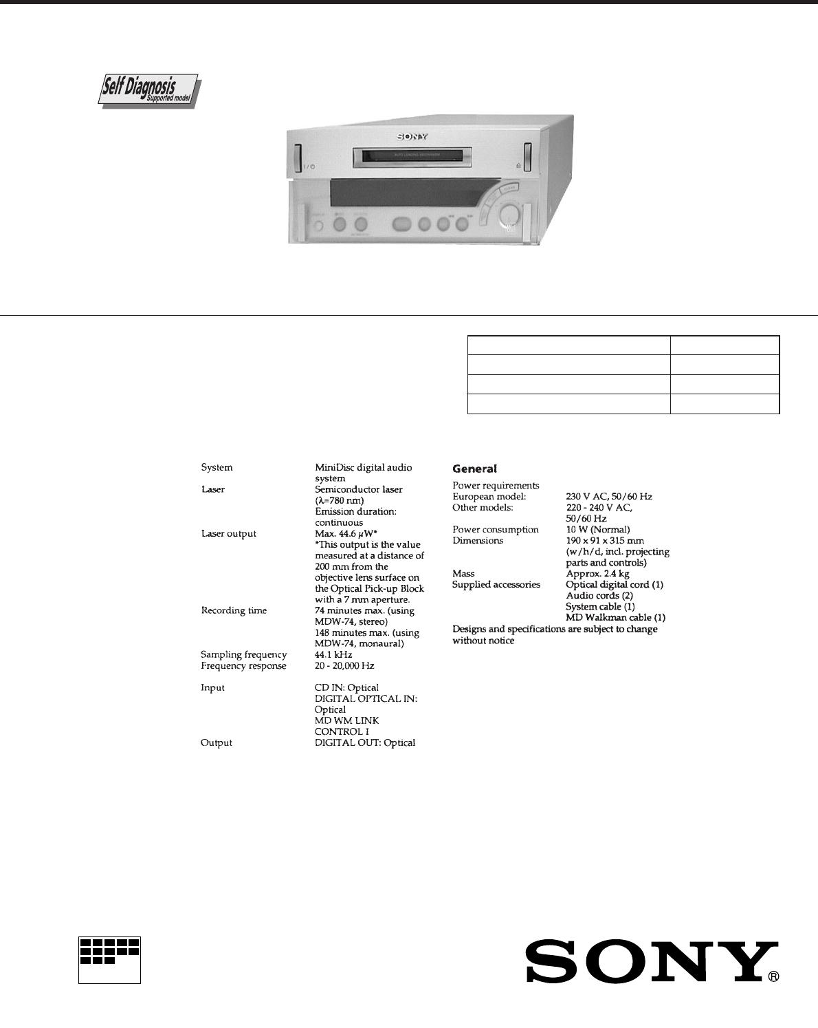 sony minidisc player mds sd1 user guide manualsonline com rh audio manualsonline com