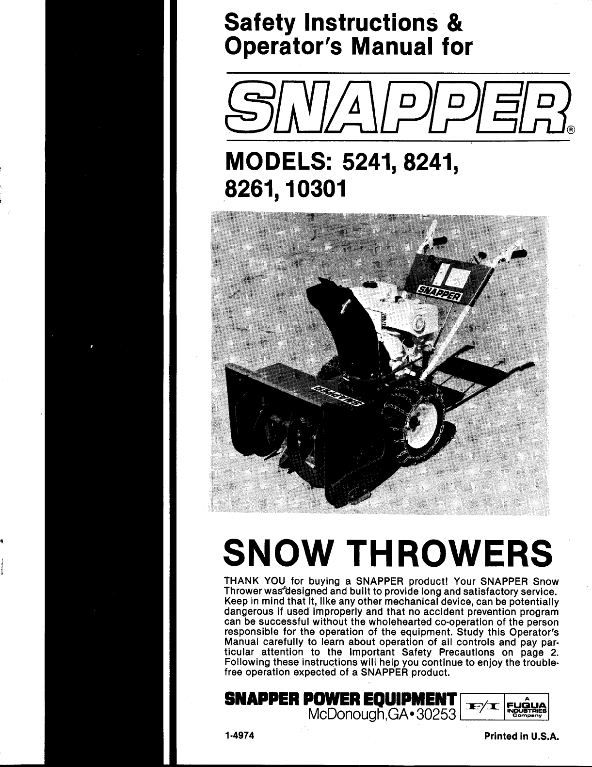 snapper snow blower 10301 user guide manualsonline com rh lawnandgarden manualsonline com Snapper Snowblower 5241 8241 Snapper Snow Thrower Parts