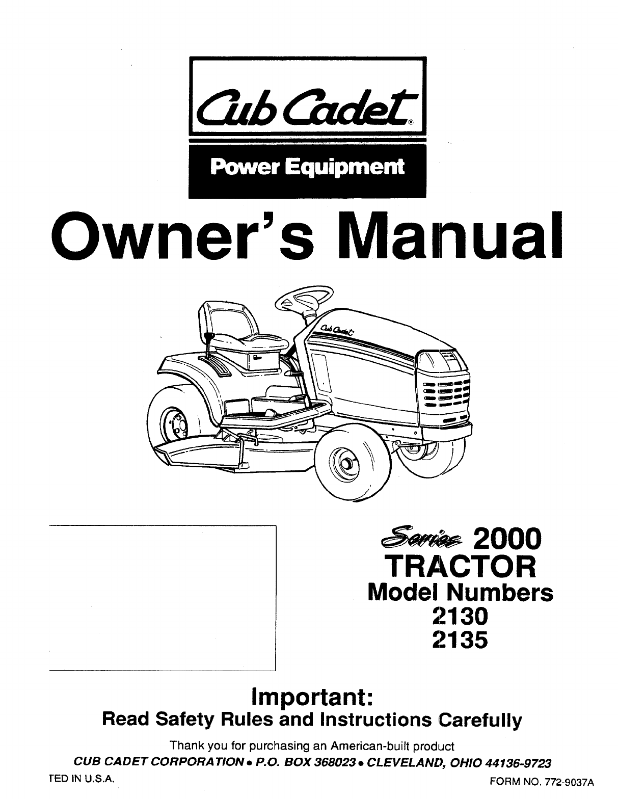 Cub Cadet Lawn Mower 2135 User Guide ManualsOnlinecom