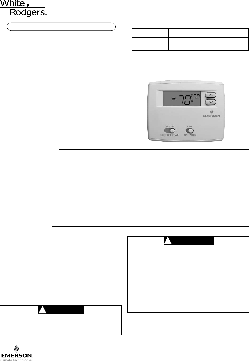 White Rodgers Thermostat 1F86-0244 User Guide | ManualsOnline.com