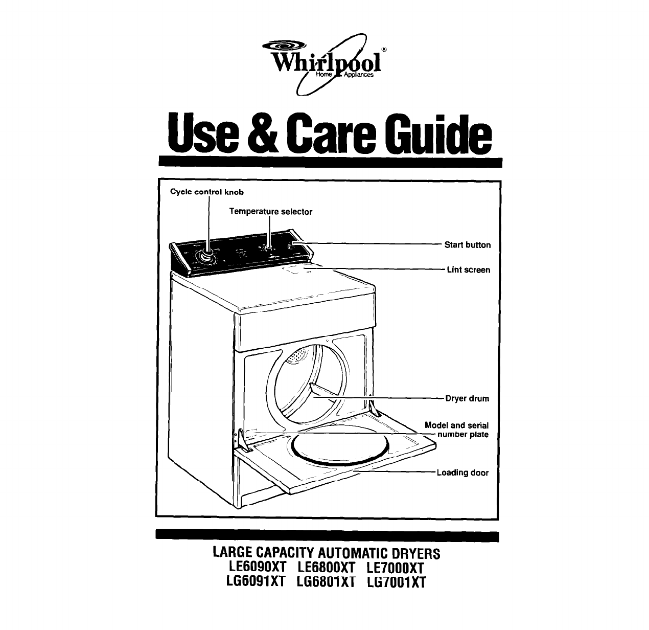 whirlpool clothes dryer lg7001xt user guide
