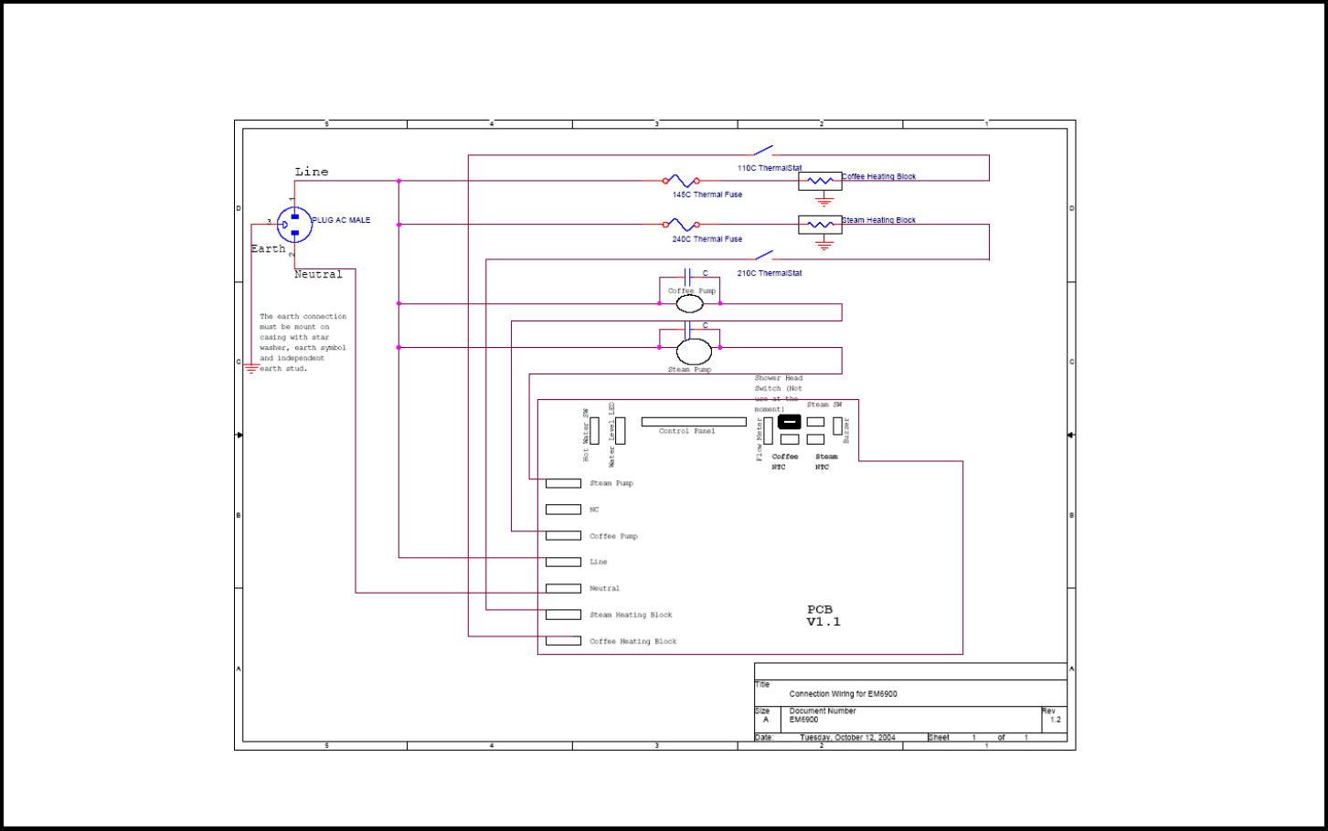 page of sunbeam coffeemaker em user guide manualsonline com em6910 issue a page 19 of 21 circuit diagram