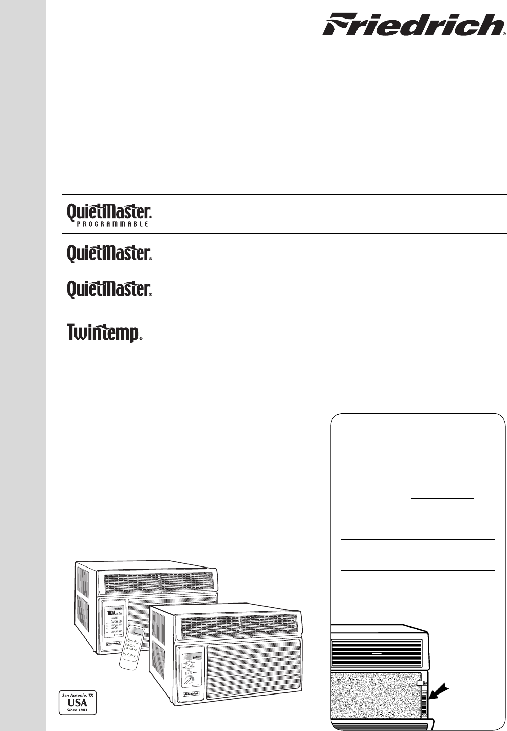 Download Free Pdf For Friedrich M09yh Air Conditioner Manual Manual Guide