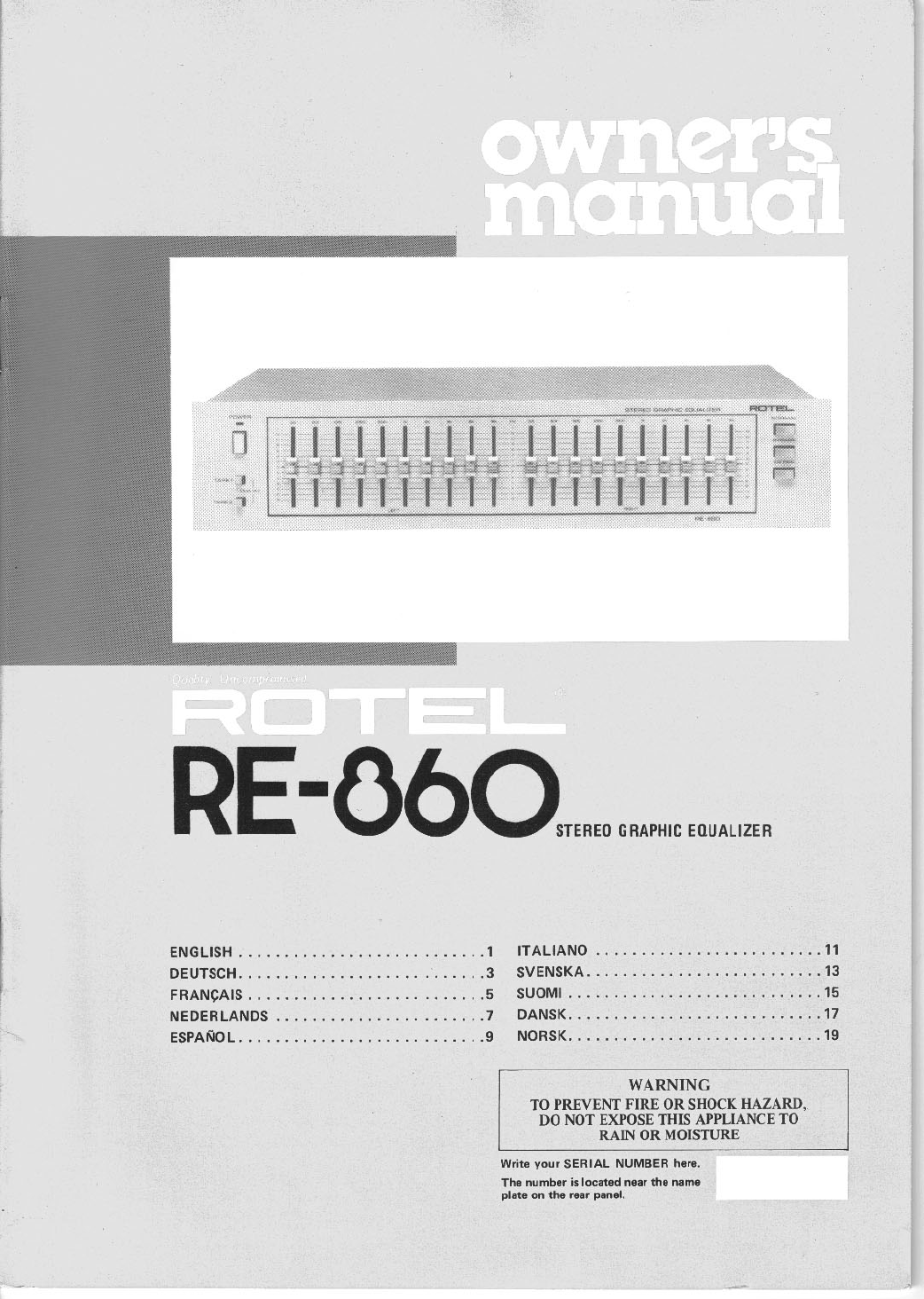 rotel stereo equalizer re 860 user guide manualsonline com rh audio manualsonline com Rotel Audio Mild Rotel