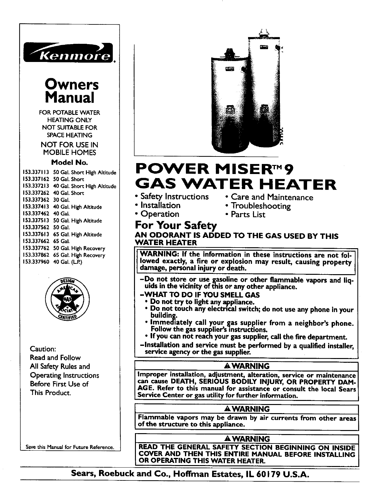 Kenmore water heater 153337462 user guide manualsonline owners manual ccuart Image collections