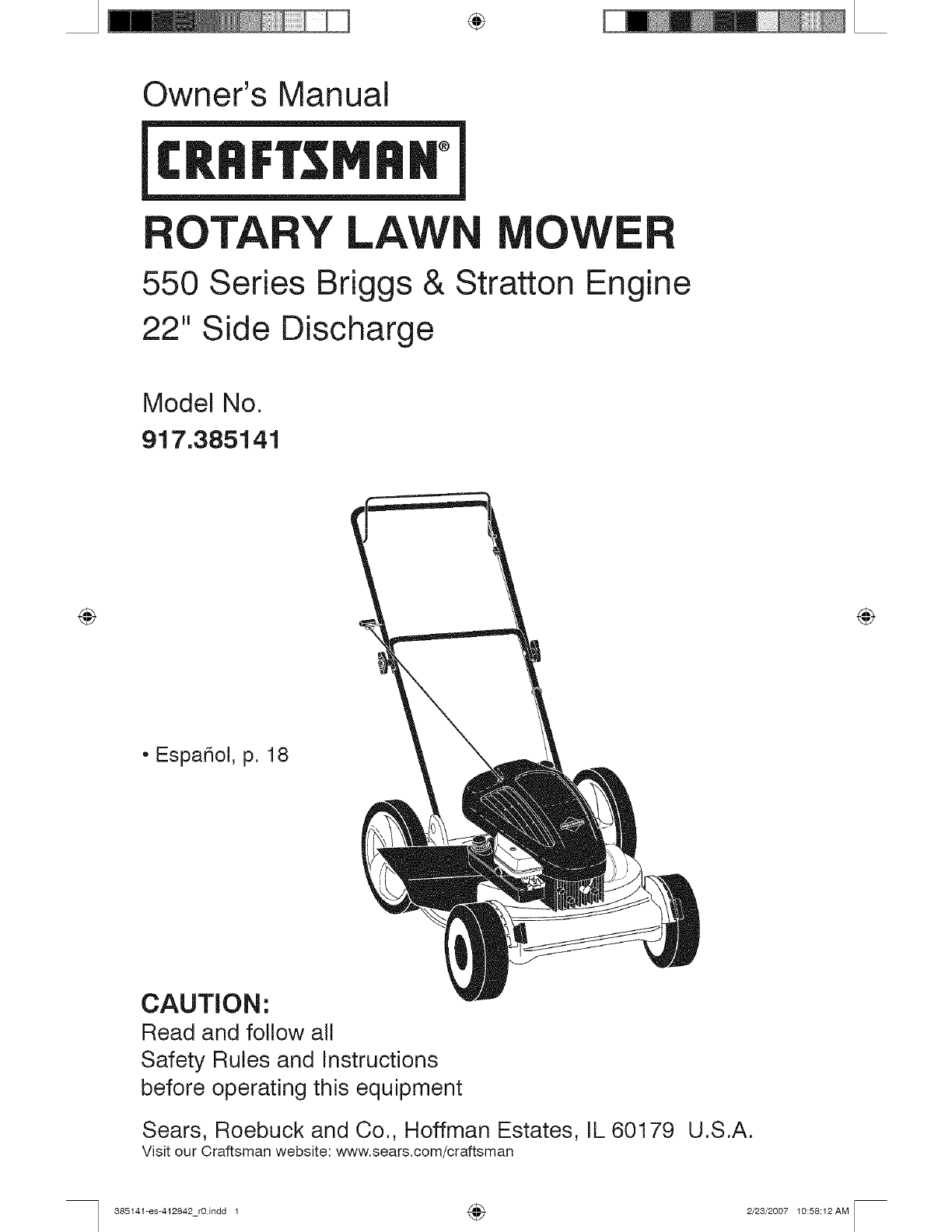 Craftsman Lawn Mower 917 User Guide
