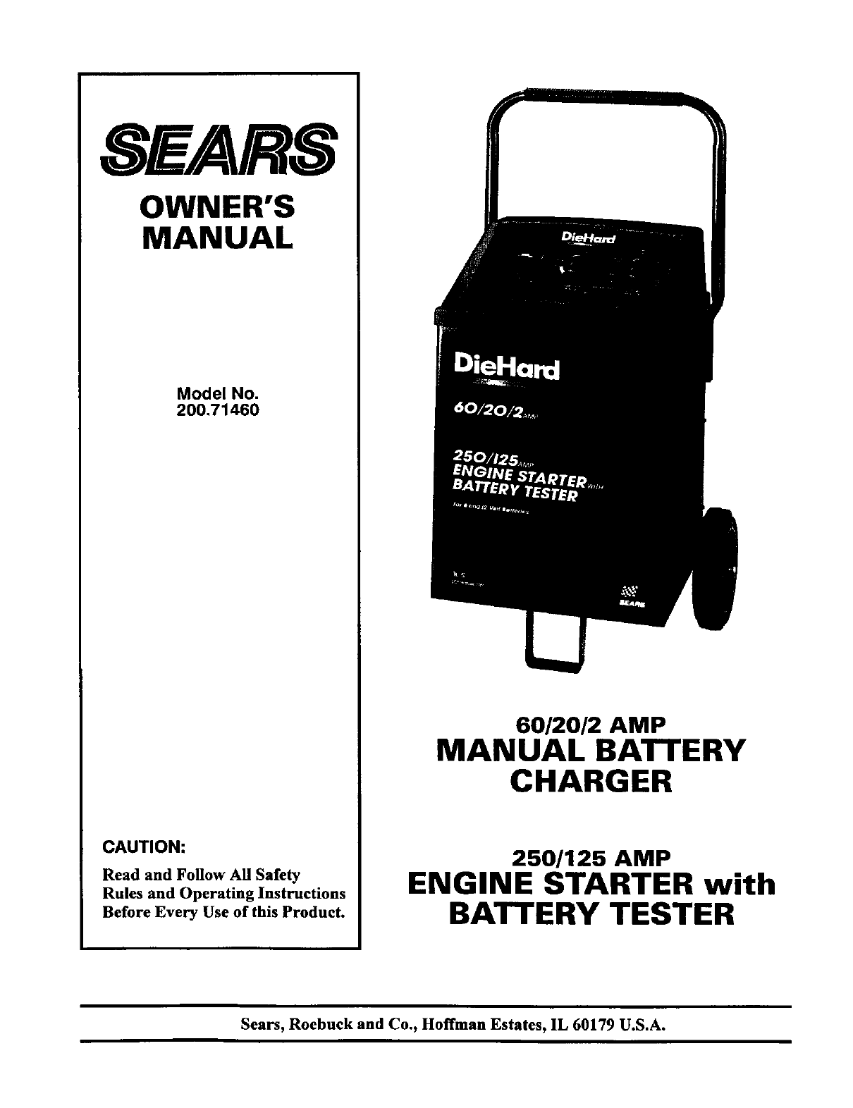 sears battery charger 200 71460 user guide