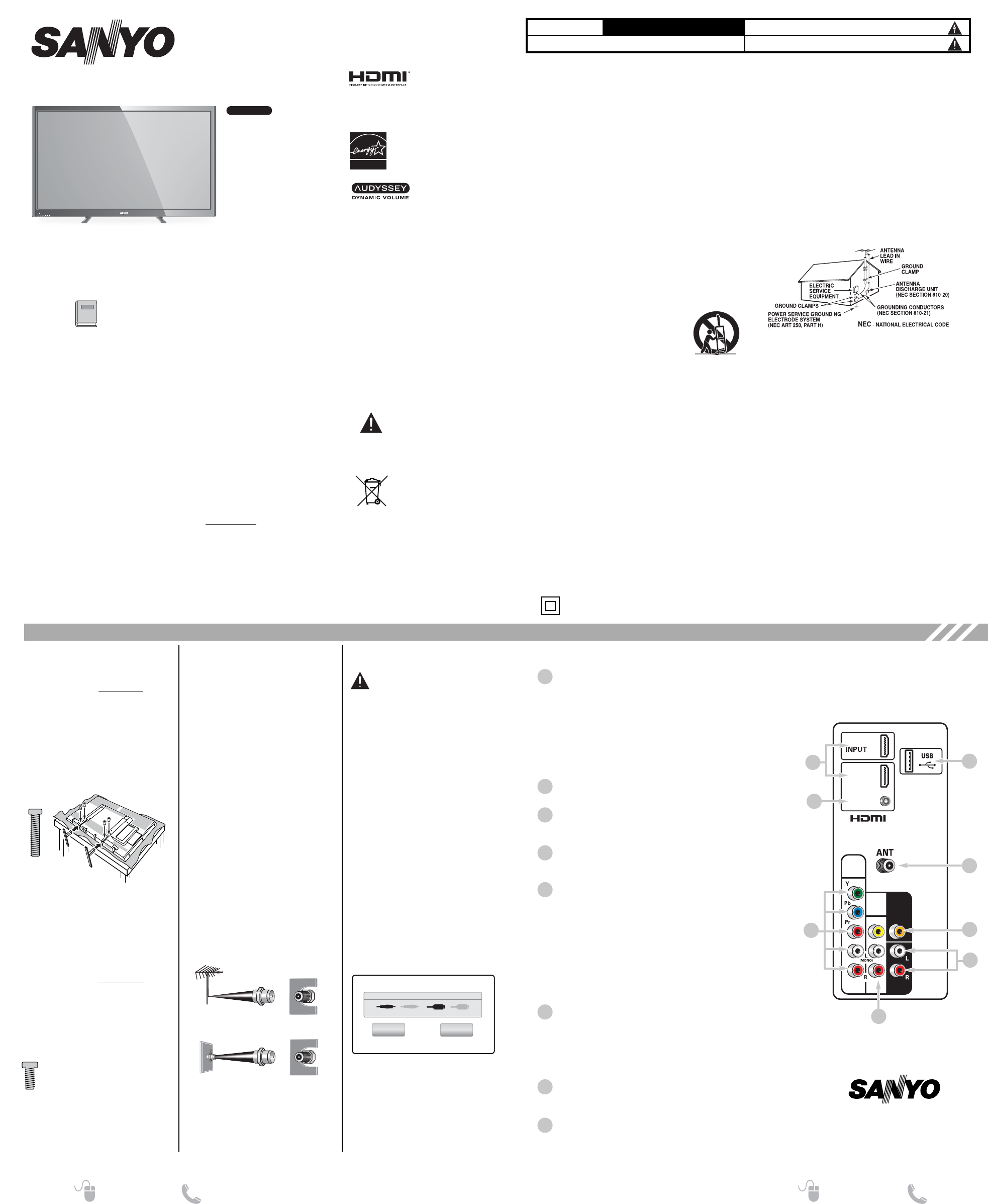 Sanyo Flat Panel Television DP50842 User Guide | ManualsOnline.com