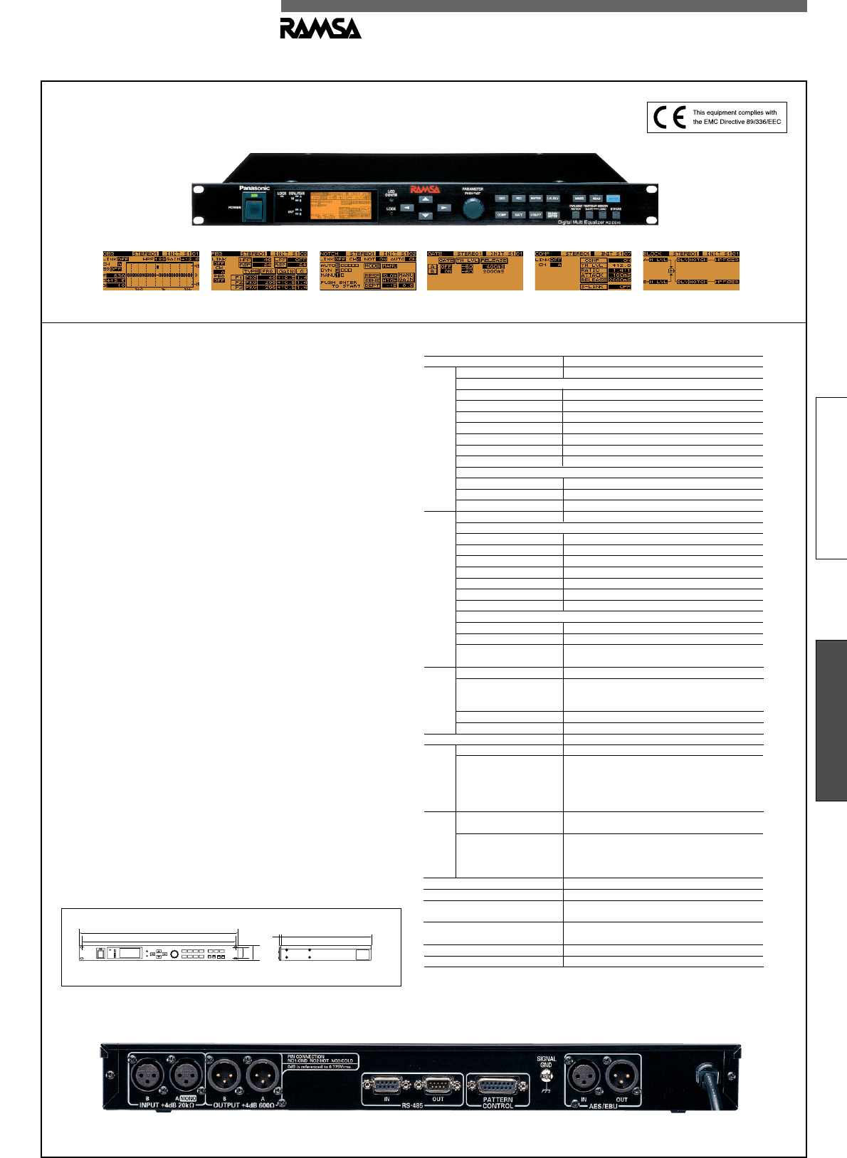 Panasonic Stereo Equalizer Wz De45nh User Guide Manualsonlinecom Dj Equipment Setup Diagram An The Digital Signal Processors