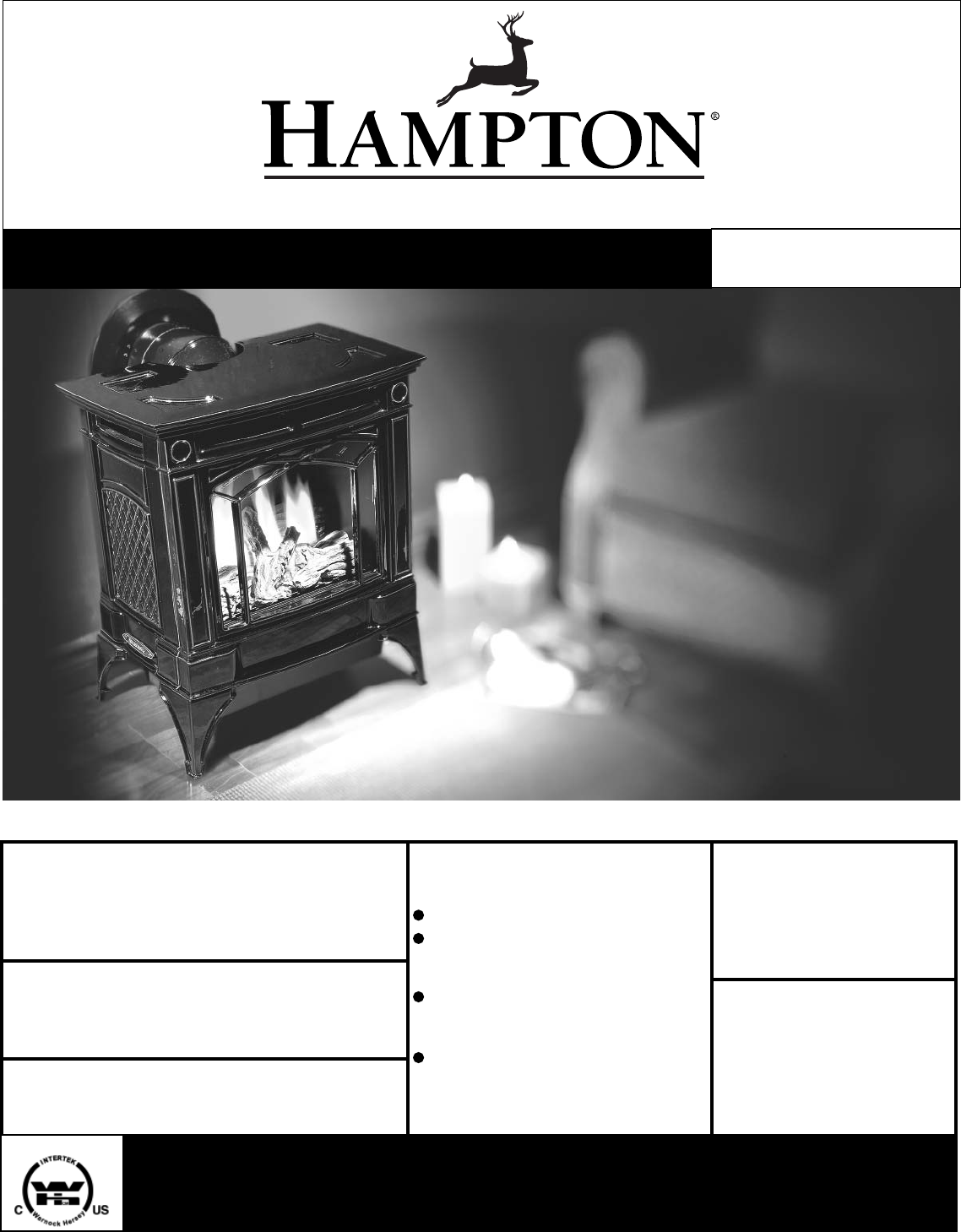Hampton Direct Indoor Fireplace H25 Lp1 Propane User Guide