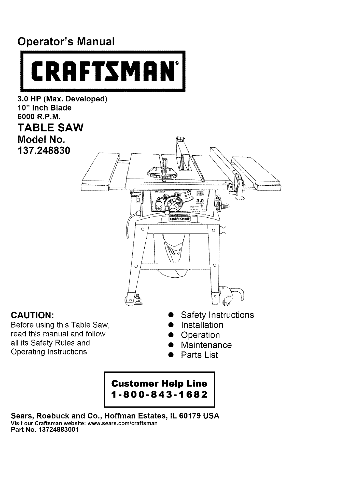 Craftsman saw 137248830 user guide manualsonline keyboard keysfo Images