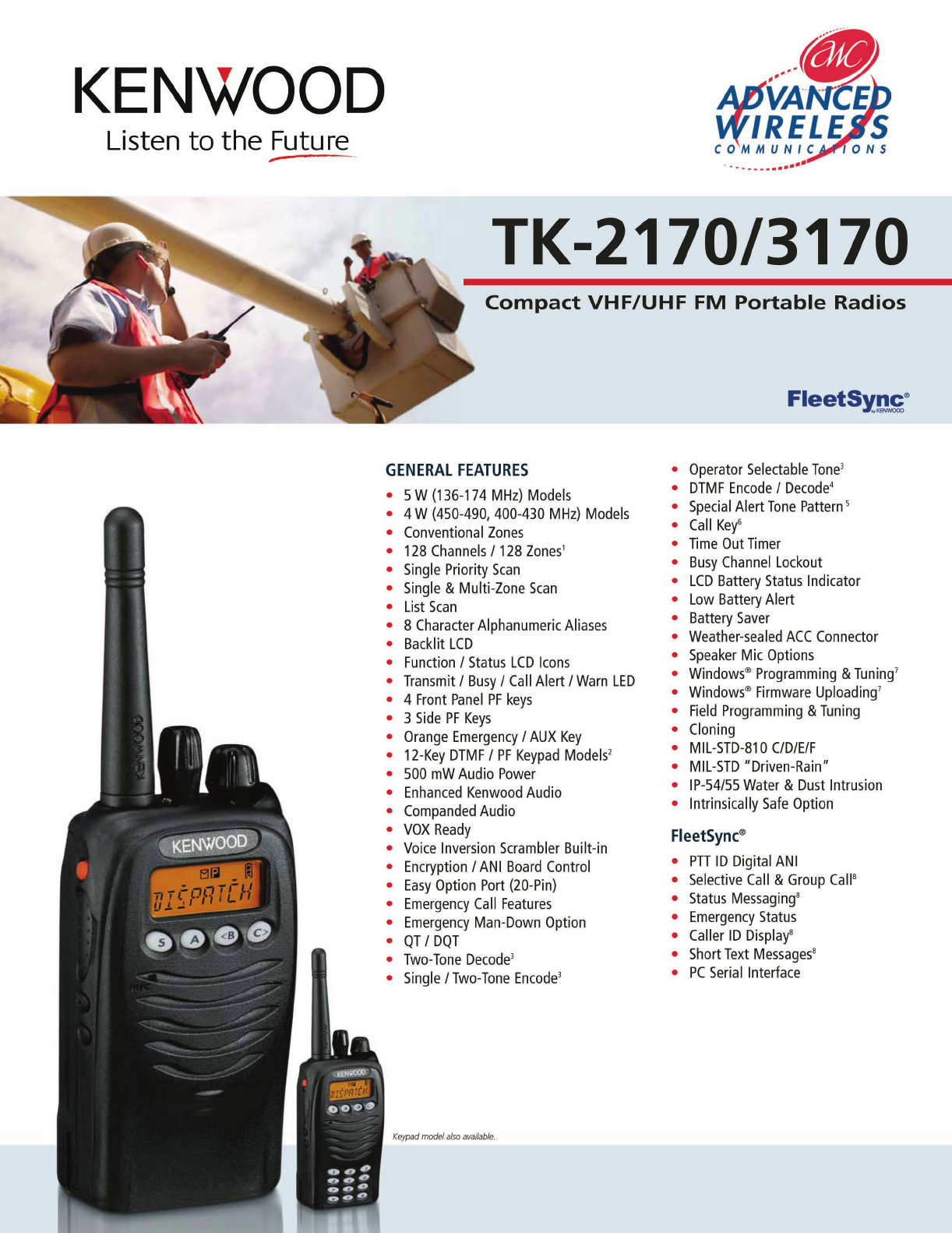 Advanced Wireless Solutions TK-2170/3170 Portable Radio User Manual