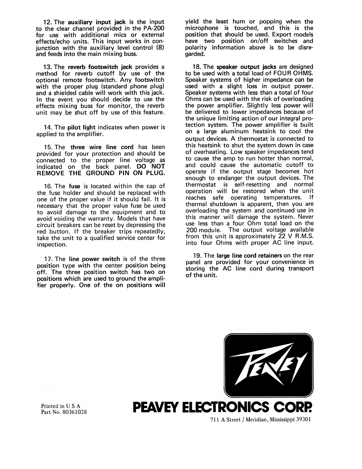 Page 4 of Peavey Music Mixer PA 200 User Guide | ManualsOnline.com