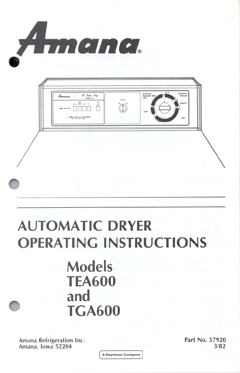 amana clothes dryer tga600 user guide manualsonline com rh laundry manualsonline com Amana Model Number List Amana Front Load Washer