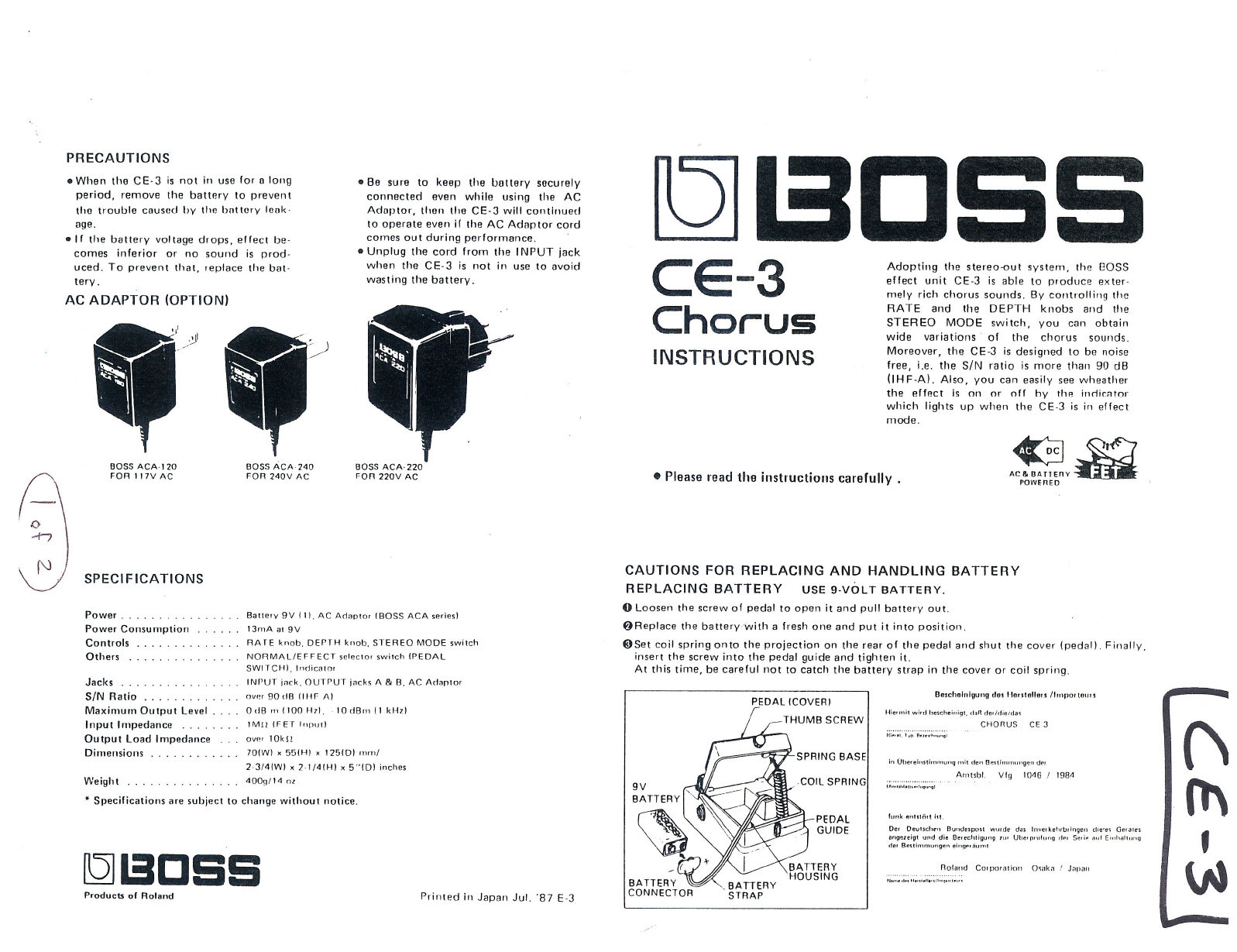 boss audio systems music pedal ce 3 user guide manualsonline com rh music manualsonline com boss dd 6 user manual boss ms 3 user manual
