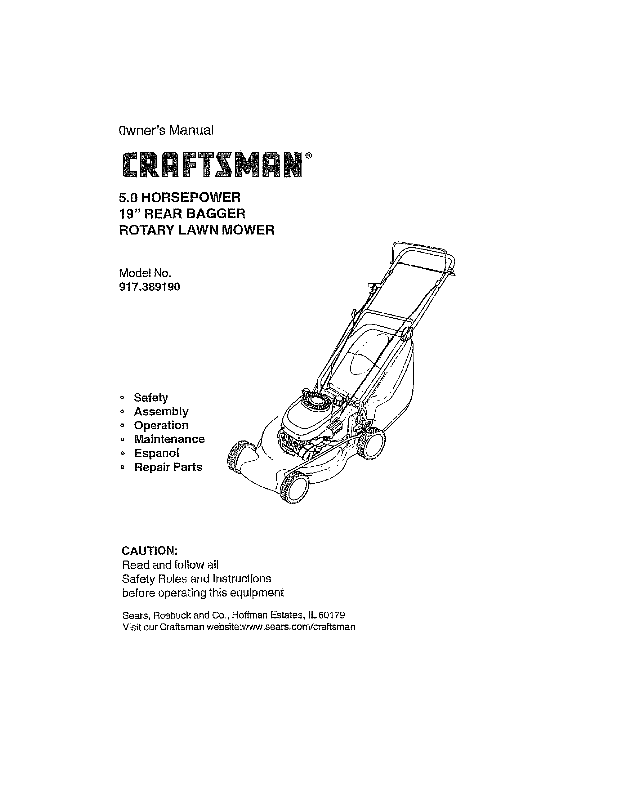 Craftsman Lawn Mower 917.38919 User Guide