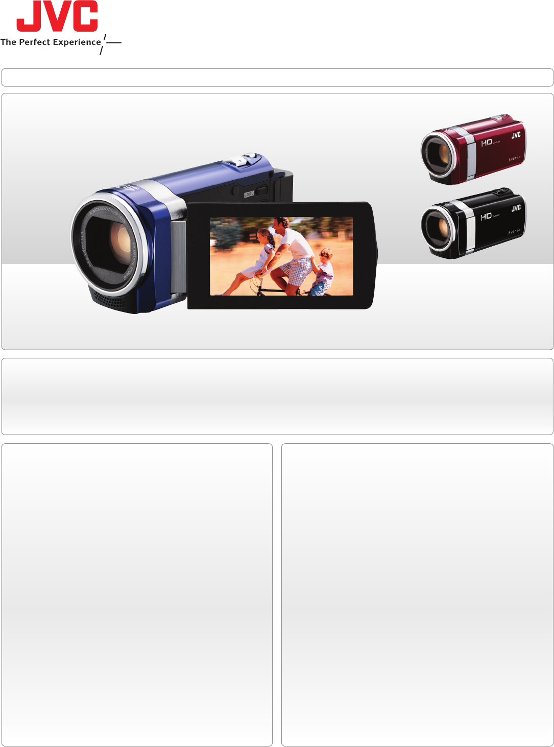 JVC hd everio flash memory camera Camcorder User Manual