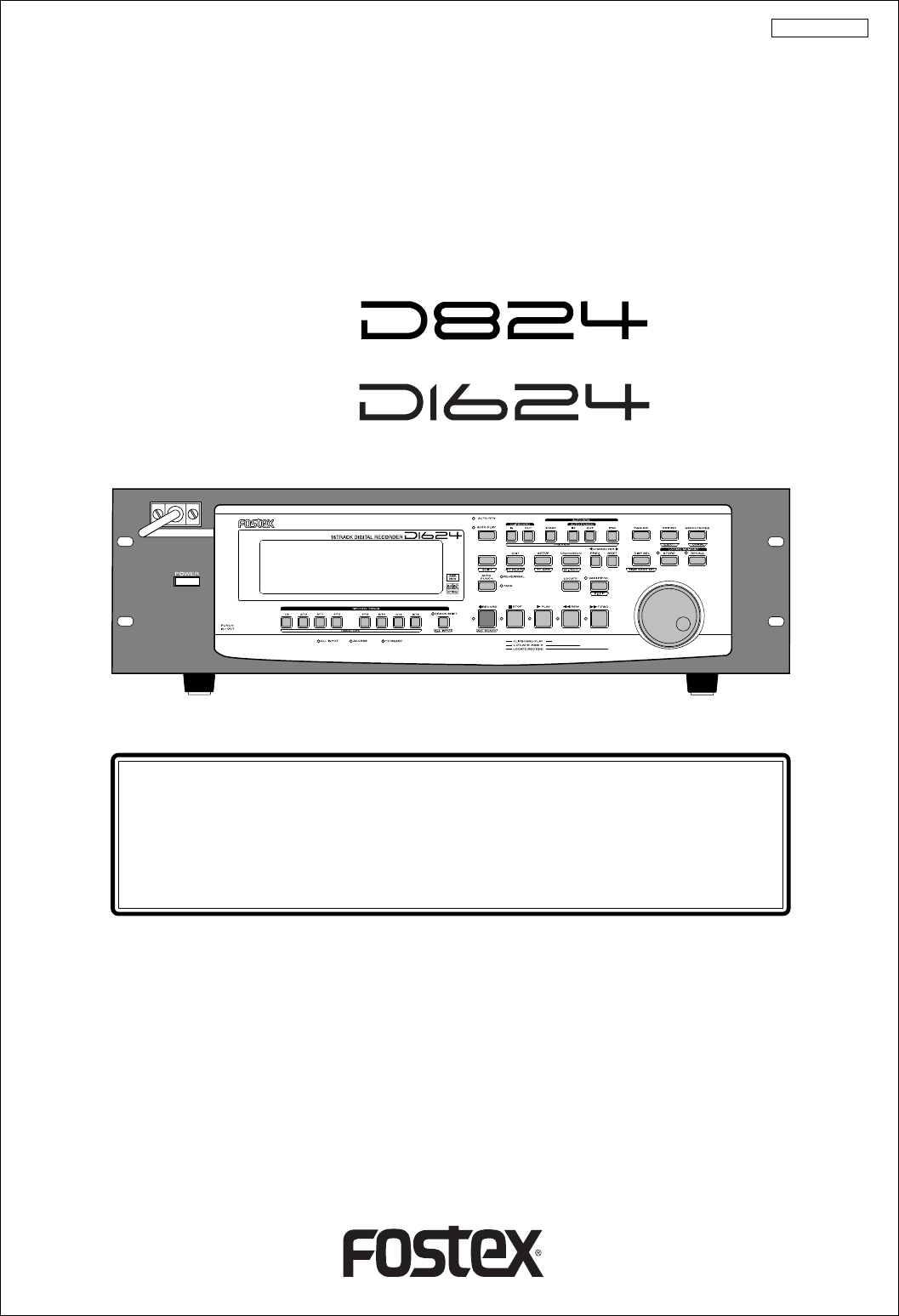 Reference Manual. 8 Track Digital Recorder