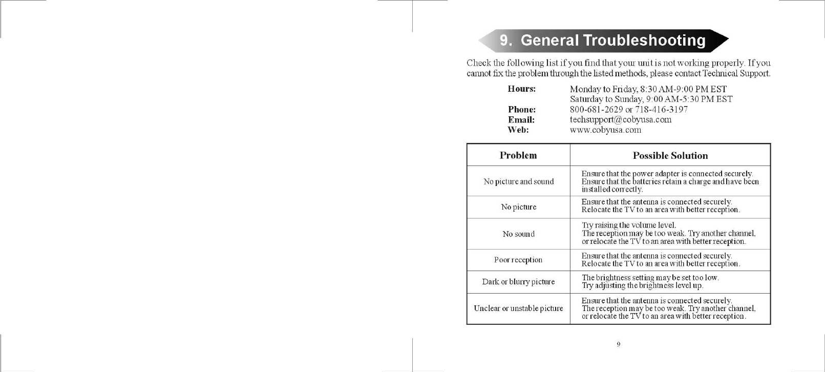 page 6 of coby electronic handheld tv tf tv251 user guide rh portablemedia manualsonline com Online User Guide Word Manual Guide