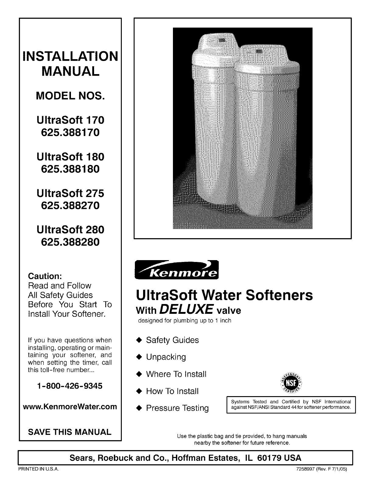 How To Start A Water Softener Kenmore Water System 275 User Guide Manualsonlinecom