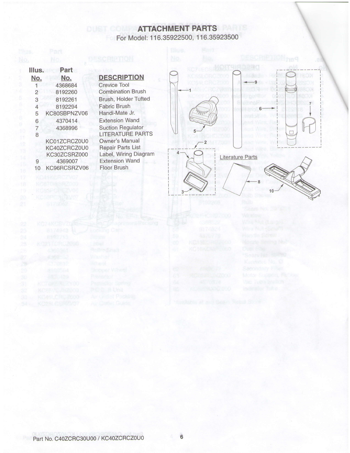 Page 6 Of Sears Vacuum Cleaner 11635923500 User Guide Kenmore Wiring Diagram Attachment
