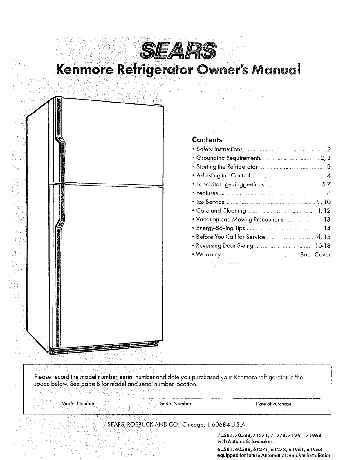 sears refrigerator 61961 user guide manualsonline com rh kitchen manualsonline com Kenmore Refrigerator Model Numbers Kenmore Refrigerator Model Numbers