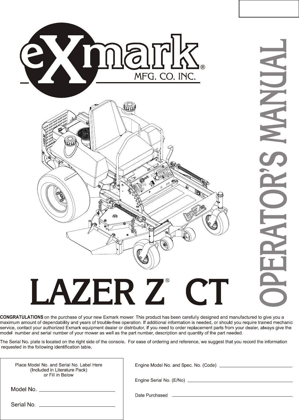 exmark lawn mower lazer z ct user guide manualsonline com rh lawnandgarden manualsonline com Exmark Lazer CT 44 With Ultra Vac Exmark Lazer Z 60