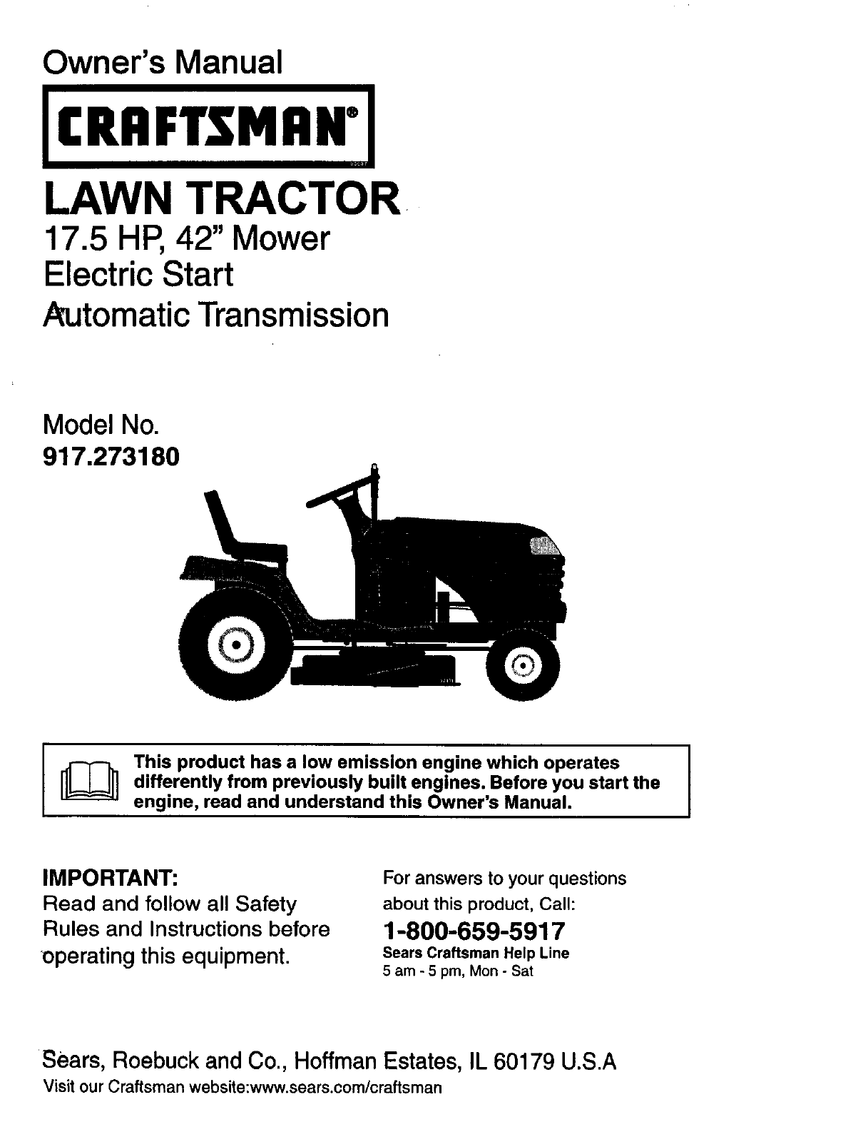craftsman lawn mower 917 273180 user guide manualsonline com rh kitchen manualsonline com sears st 16 garden tractor manual sears ss16 garden tractor manual