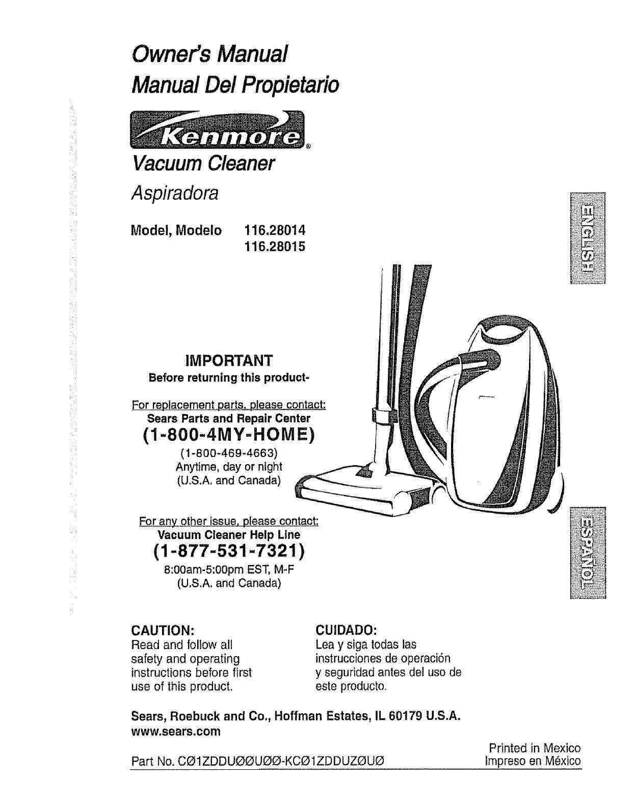 Kenmore Vacuum Cleaner 116 28014 User Guide border=
