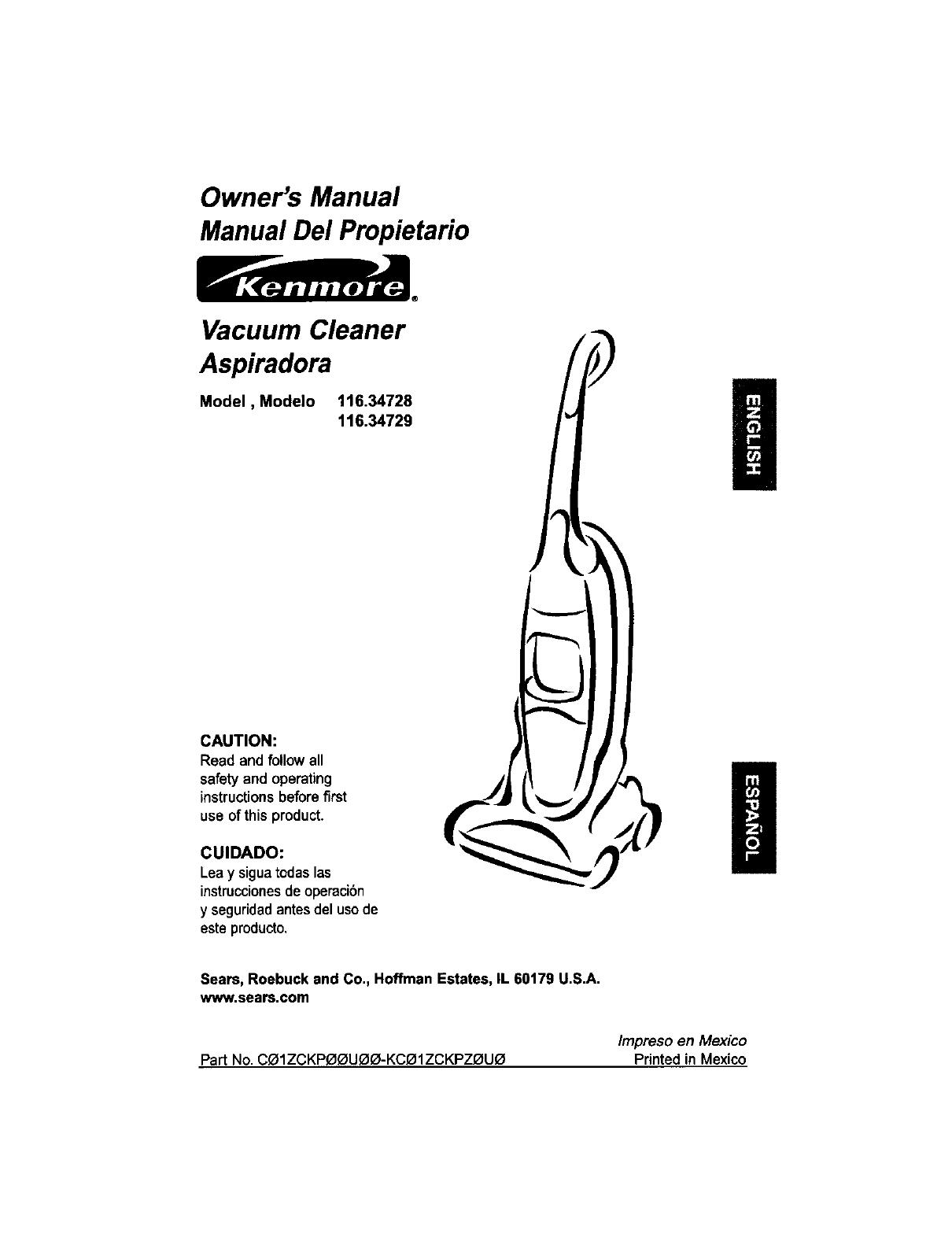 Kenmore Vacuum Cleaner 116 34728 User Guide border=