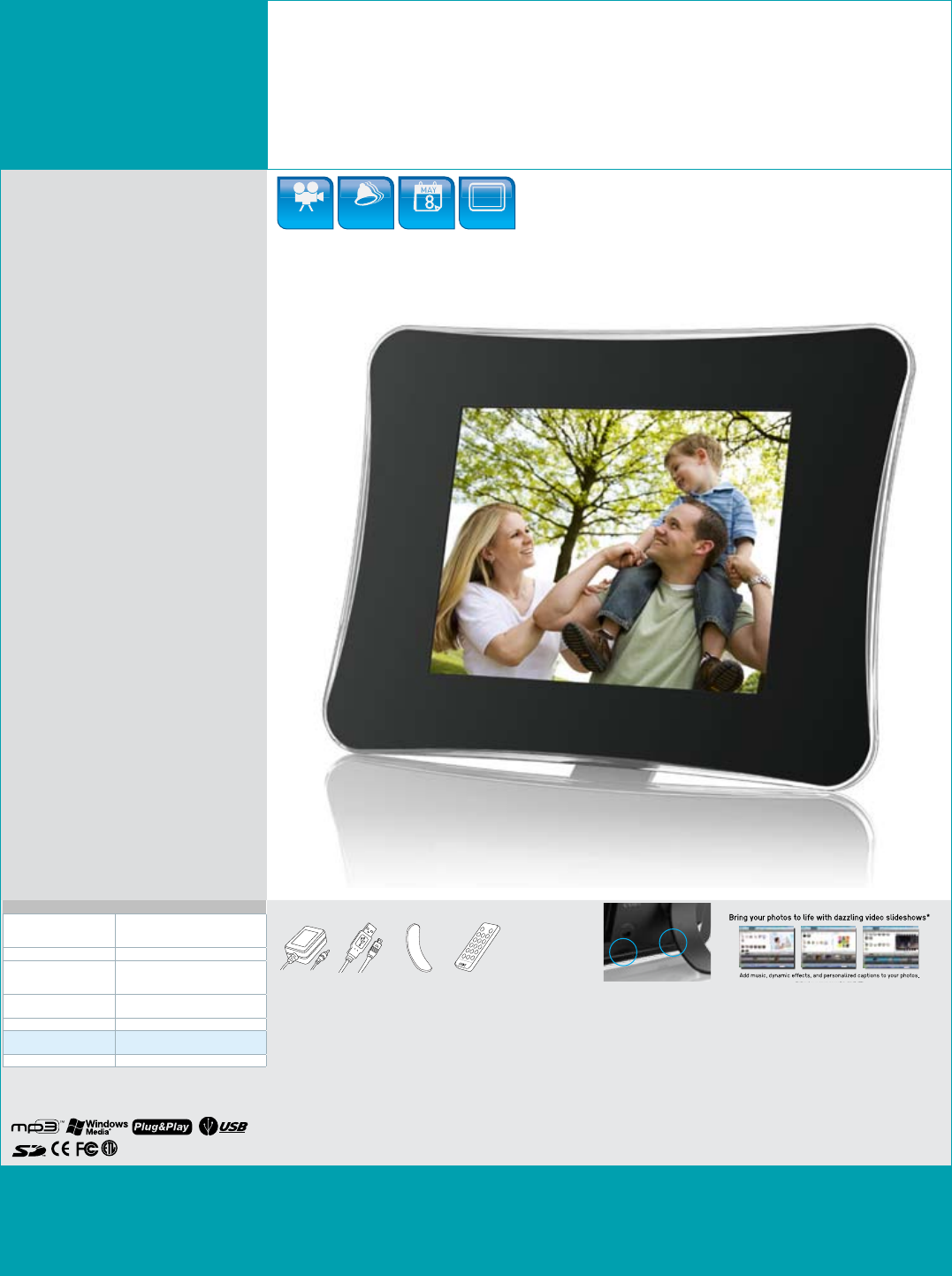 """DP850-1G 8"""" DIGITAL PHOTO FRAME with"""