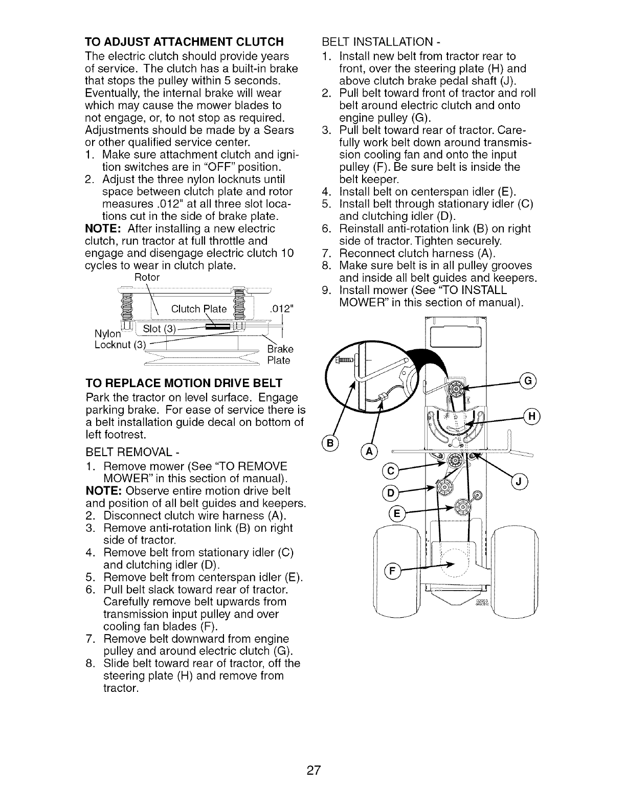 Lawn Mower Electric Clutch Adjustment : Page of craftsman lawn mower user guide