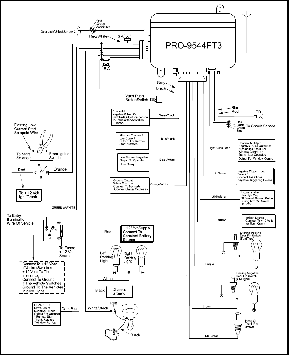 audiovox car alarm wiring diagram audiovox image page 8 of audiovox automobile alarm pro9544ft3 user guide on audiovox car alarm wiring diagram