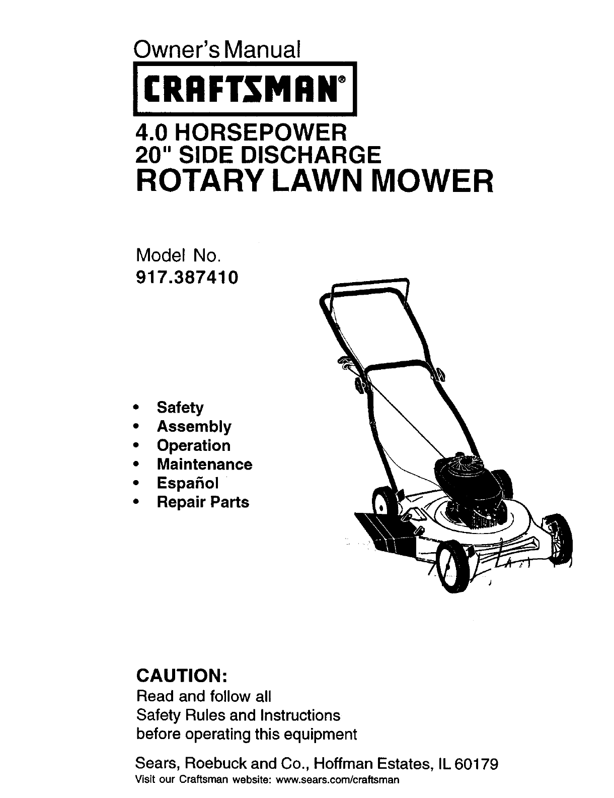 Craftsman Model 917 Push Mower : Craftsman lawn mower  user guide manualsonline