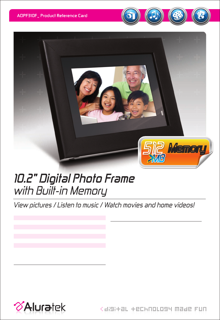 Aluratek Digital Photo Frame ADPF310F User Guide | ManualsOnline.com