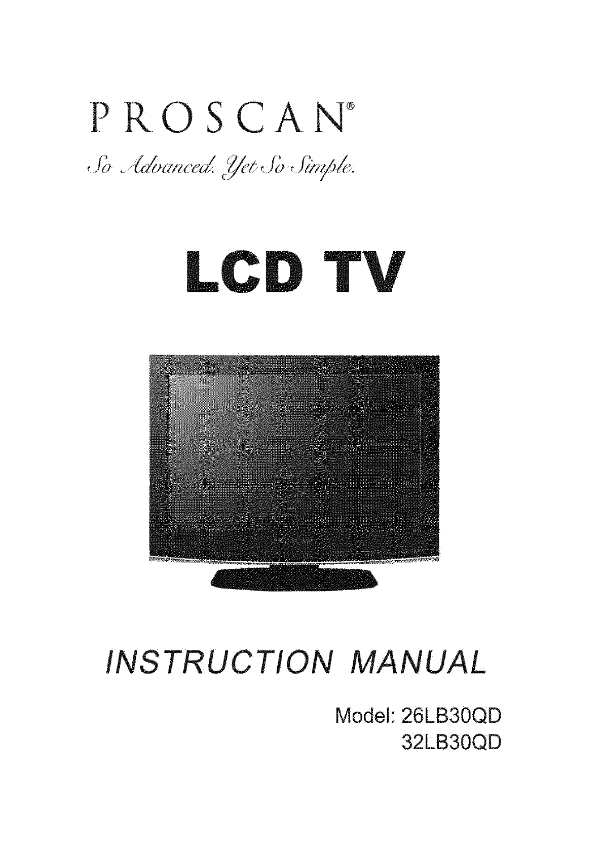 proscan flat panel television 32lb30qd user guide manualsonline com rh tv manualsonline com TV Remote Control Code List 32Lc30s57 Proscan TV Stand