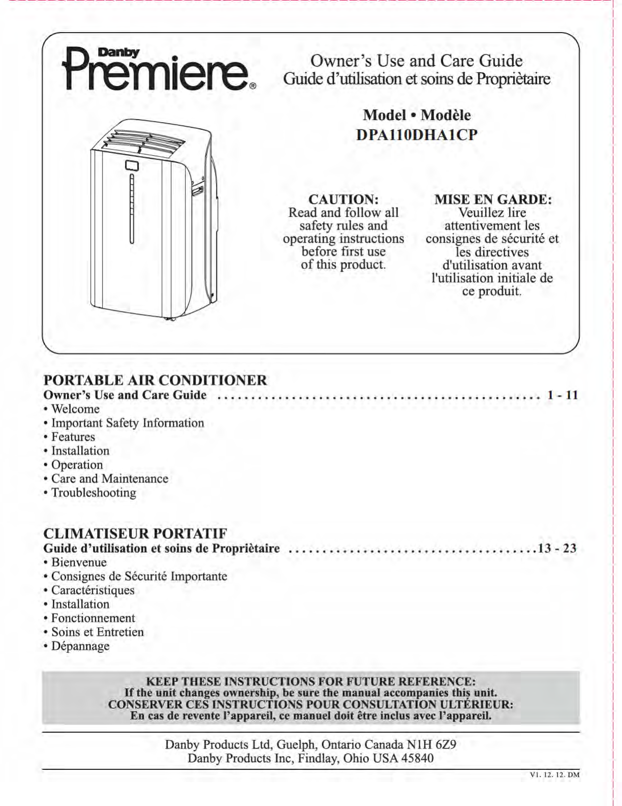 danby air conditioner dpa110dha1cp user guide