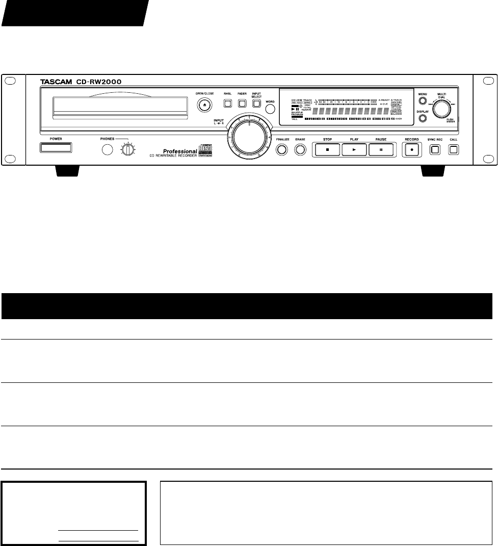 Tascam cd rw2000 service manual next array tascam speaker system cd rw2000 user guide manualsonline com rh audio manualsonline fandeluxe Choice Image