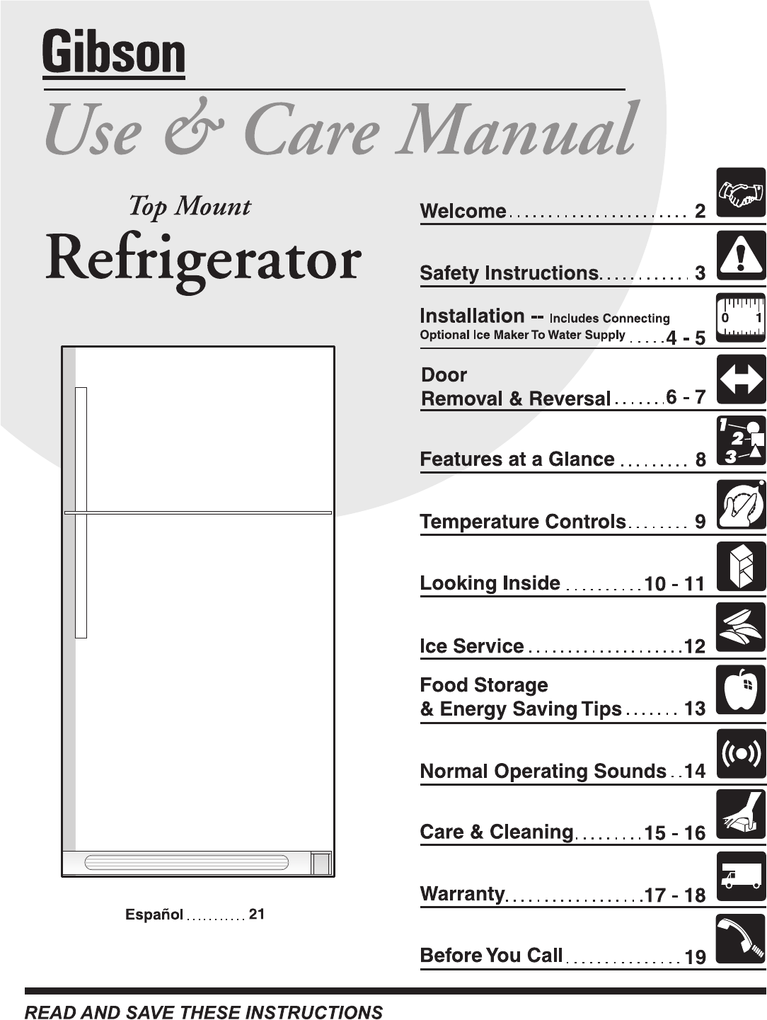 Electrolux - Gibson Refrigerator 240435505 User Guide
