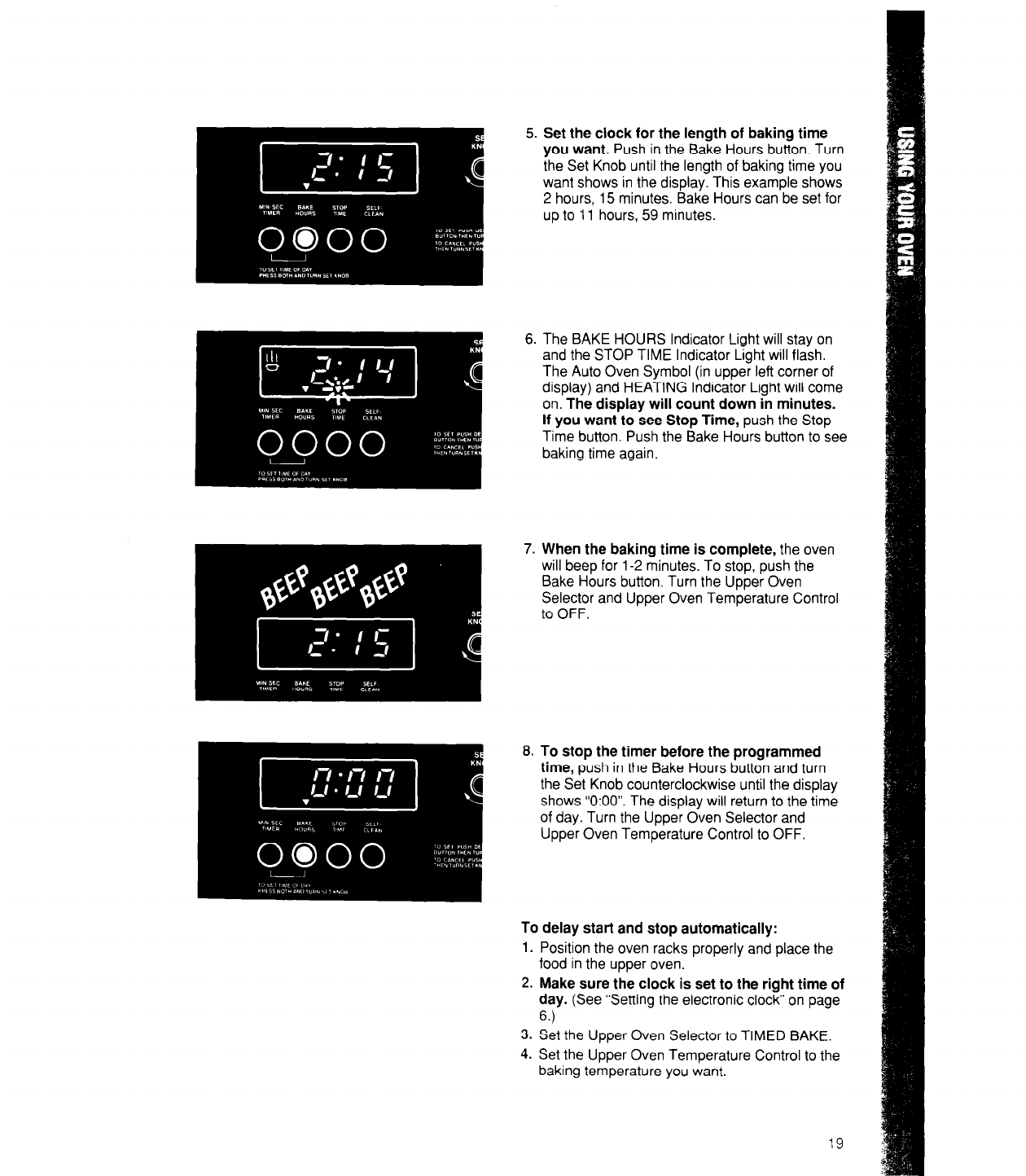 Page 19 of whirlpool oven rb760pxx user guide manualsonline 5 set the clock for the length of baking time biocorpaavc Choice Image