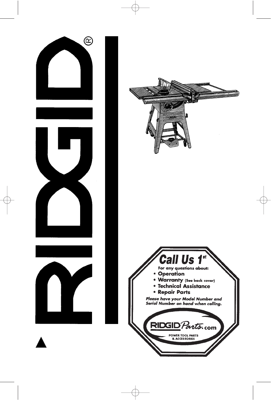 Ridgid table saw manual for 10 cast iron table saw r4512